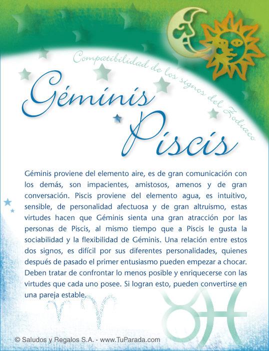 Tarjeta - Géminis con Piscis