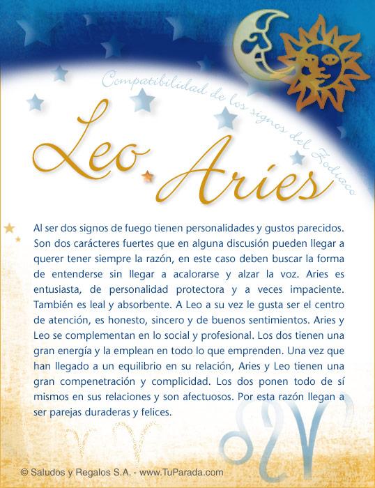Tarjeta - Leo con Aries