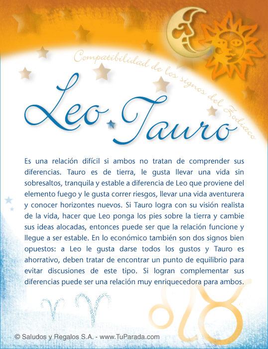Tarjeta - Leo con Tauro