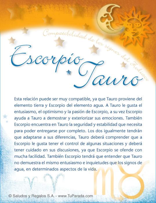 Tarjeta - Escorpio con Tauro