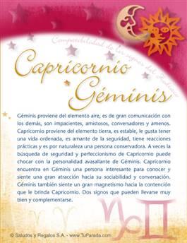 Capricornio con Géminis