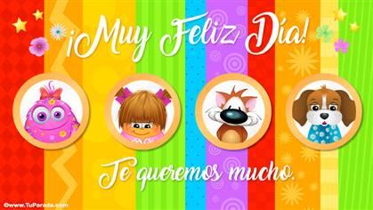 Tarjeta multicolor para feliz día