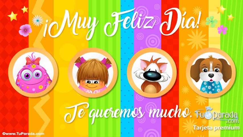 Tarjeta - Tarjeta multicolor para feliz día