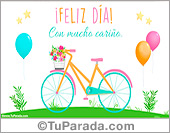 Tarjetas, postales: Tarjeta de feliz día con bicicleta