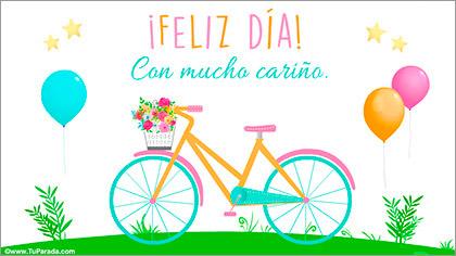 Tarjeta de feliz día con bicicleta
