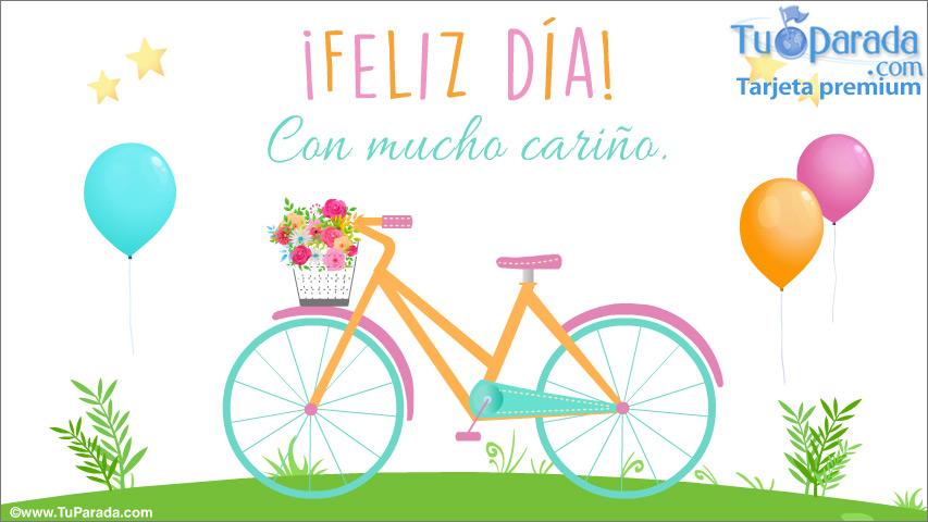Tarjeta - Tarjeta de feliz día con bicicleta