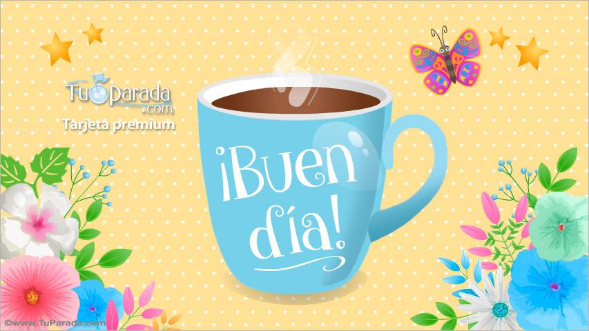 Tarjeta - Buen día con taza