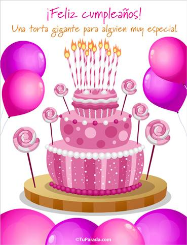 Tarjeta con torta gigante rosa