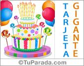 Tarjeta de cumpleaños con torta de colores