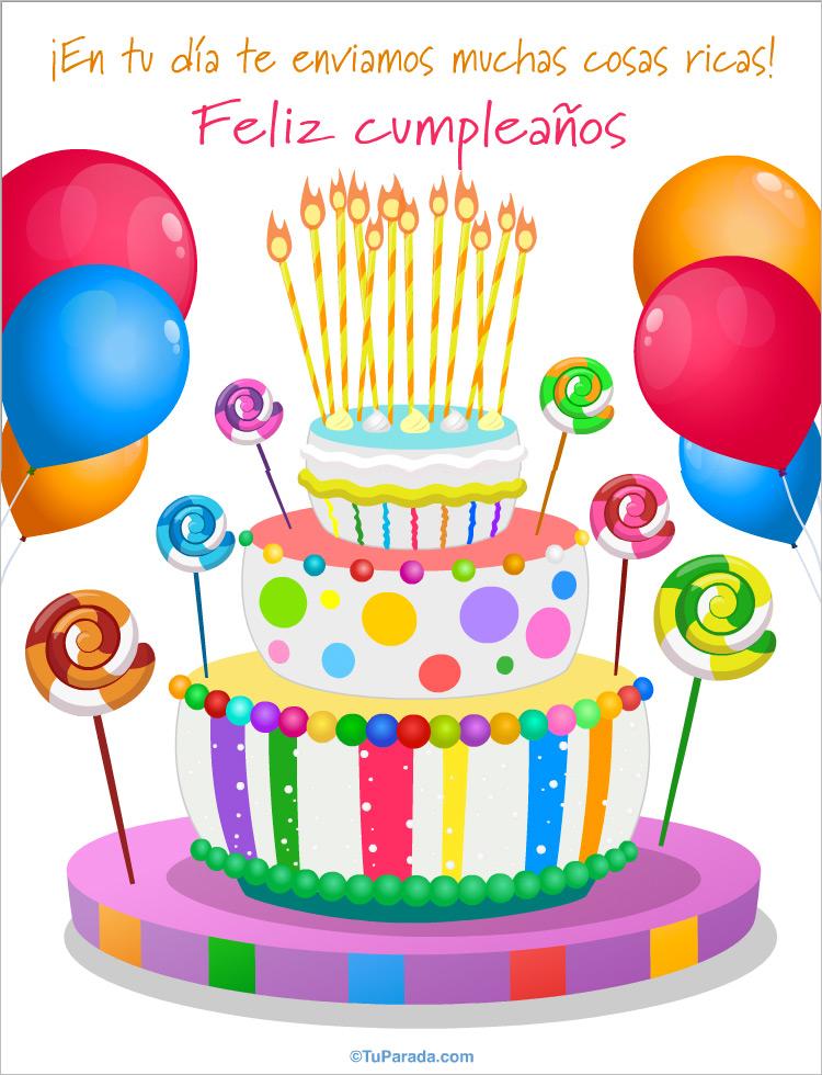 Tarjeta de cumpleaños con torta de colores - Saludos gigantes, tarjetas