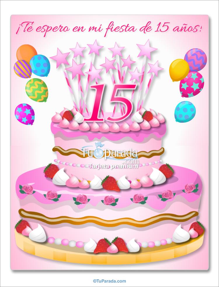 Tarjeta - Invitación de 15 años con torta