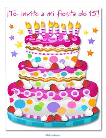 Invitación de 15 con torta