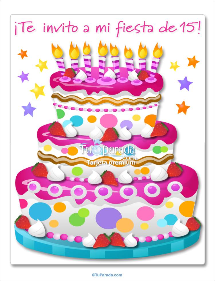 Tarjeta - Invitación de 15 con torta