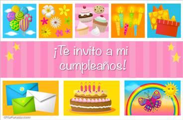 Invitación de cumpleaños con cupcakes