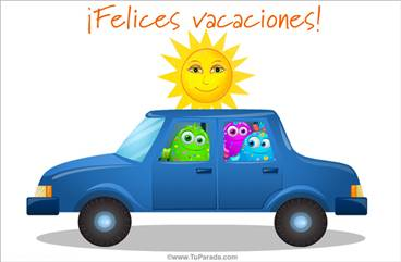Tarjeta de felices vacaciones en auto