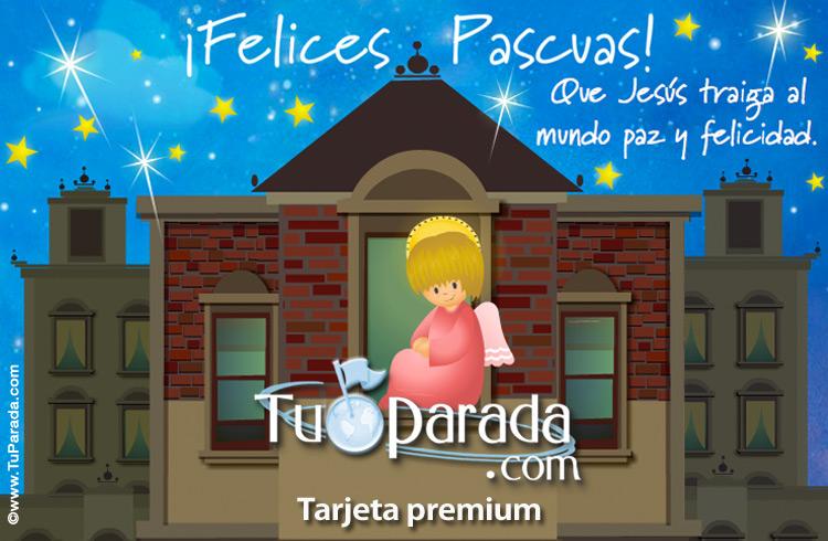 Tarjeta - Tarjeta de Pascua con ángel