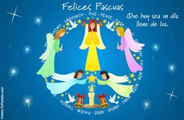 Tarjeta de felices Pascuas con ángeles