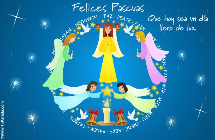 Tarjeta De Felices Pascuas Con ángeles Pascua Tarjetas