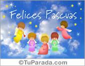 Postal de Pascua con angelitos