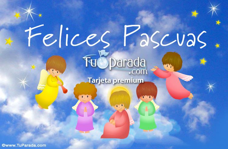 Tarjeta - Postal de Pascua con angelitos