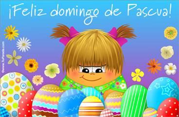 Tarjeta con huevos de Pascua y saludo