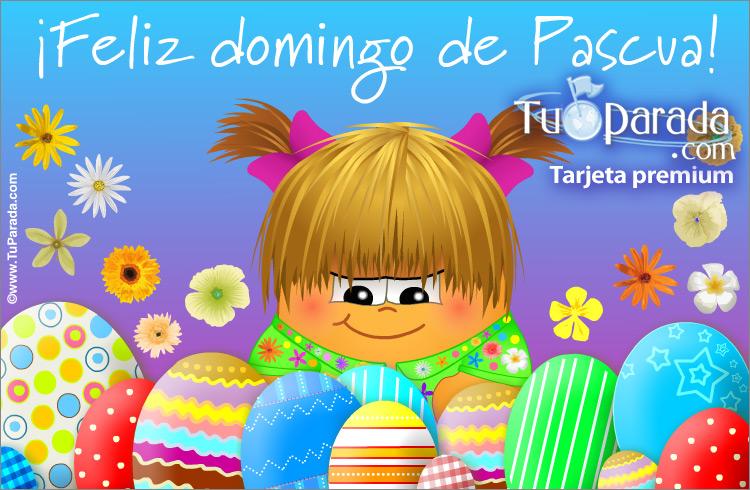 Tarjeta - Tarjeta con huevos de Pascua y saludo
