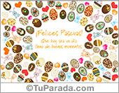 Tarjeta con muchos huevos de Pascua