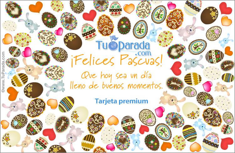 Tarjeta - Tarjeta con muchos huevos de Pascua