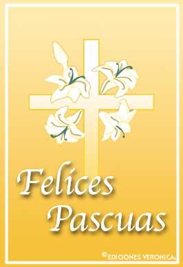 Tarjeta - Felices Pascuas con flores y cruz