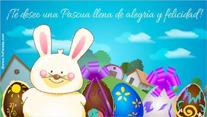 Tarjeta con conejo de Pascua
