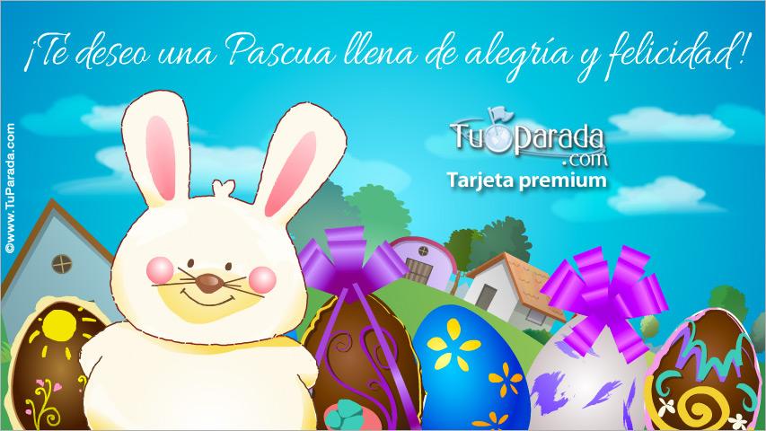 Tarjeta - Tarjeta con conejo de Pascua