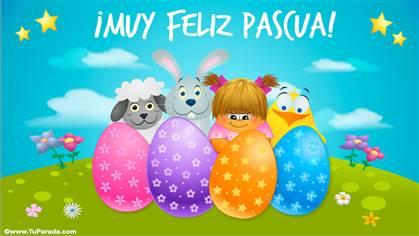 Tarjeta para enviar un muy feliz domingo de Pascua.