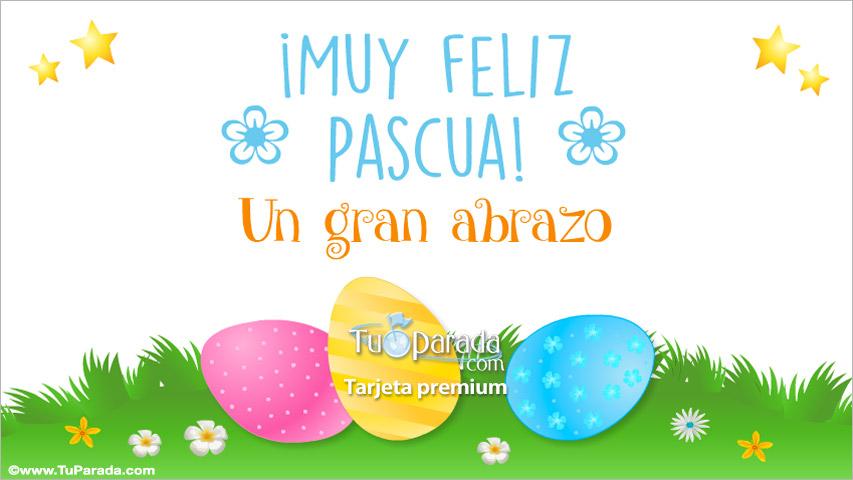 Tarjeta - Tarjeta de Pascuas con abrazo