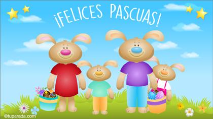 Tarjetas postales: Tarjeta de Felices Pascuas familiar