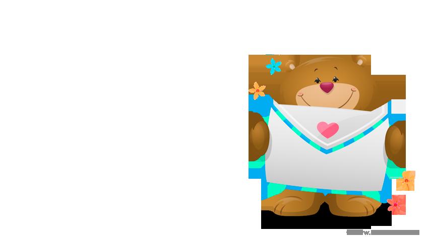 Imagen de tarjeta de osito con sobre para enviar un feliz día.