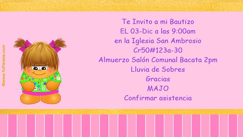 Bautizo Invitaciones Tarjetas