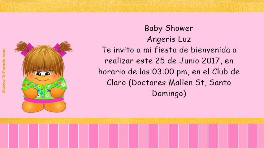 Baby Shower Angeris Luz Invitaciones Tarjetas