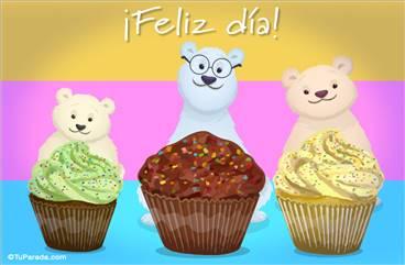 Ecard de feliz día con osos y muffins