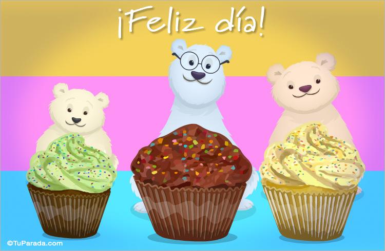 Tarjeta - Ecard de feliz día con osos y muffins