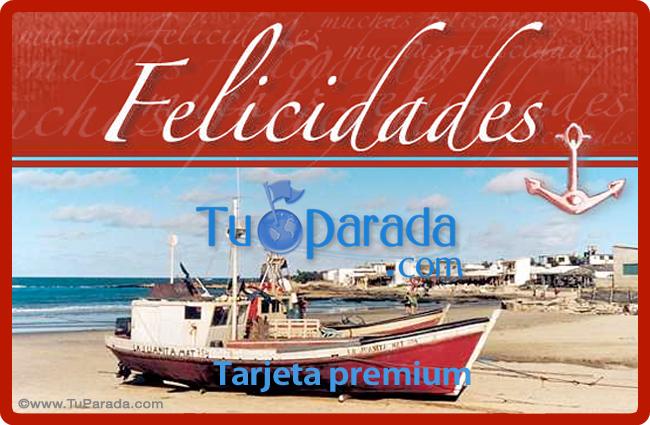 Tarjeta - Felicidades con barco y playa