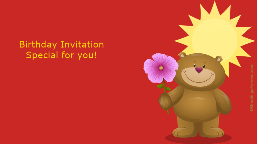 Birthday Invitation With Little Bear