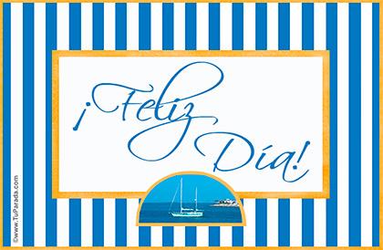 Feliz día con rayas azules