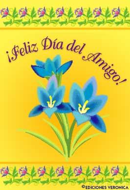 Tarjeta - Feliz día del amigo con flores