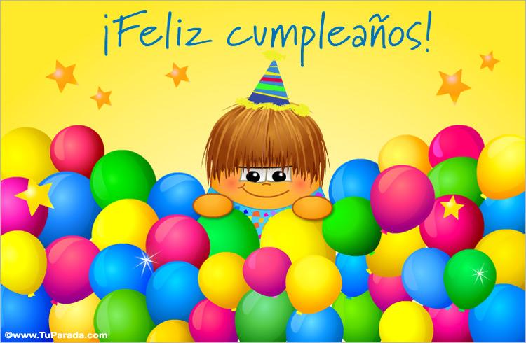 Tarjeta - Feliz Cumpleaños multicolor con globos
