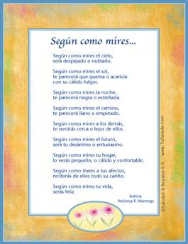 Tarjeta de Poemas para enviar e imprimir