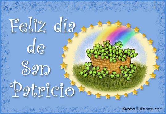 Tarjeta - Feliz día de San Patricio con arco iris