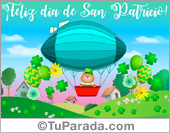 Tarjetas postales: Tarjeta de San Patricio en globo