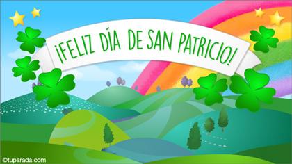 Feliz Día de San Patricio con paisaje