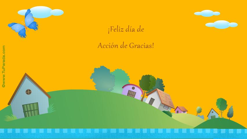 Tarjeta - Acción de Gracias con casitas
