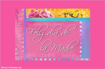 Feliz día de la madre con flores de colores